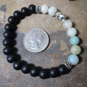 1651 Amazonite & black agate Buddha bracelet